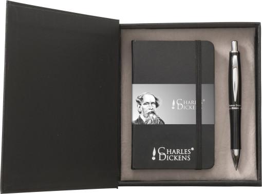 Relatiegeschenk Charles Dickens schrijfset Notebook A6 bedrukken