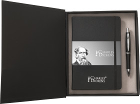 Relatiegeschenk Charles Dickens schrijfset Notebook A5
