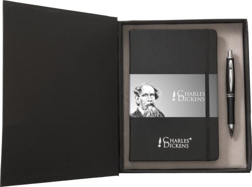 Relatiegeschenk Charles Dickens schrijfset Notebook A5 bedrukken