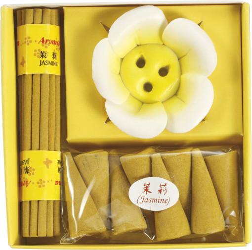 Relatiegeschenk Wierook geschenkset Flower 3-delig bedrukken