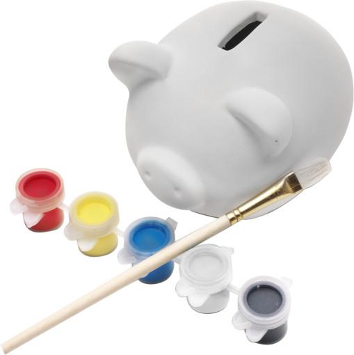 Relatiegeschenk Spaarvarken Piggy met verf