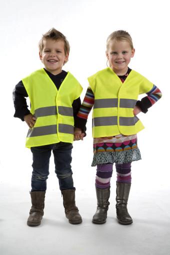 Relatiegeschenk Promotioneel kinderveiligheidsvest geel bedrukken