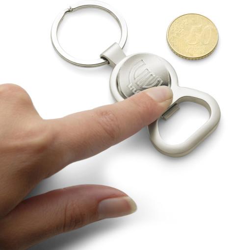 Relatiegeschenk € 1,00 munt sleutelhanger met opener bedrukken