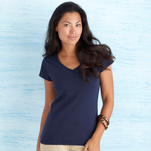 Relatiegeschenk Gildan Soft Style V-neck T-shirt Dames bedrukken