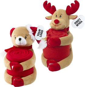 Relatiegeschenk Kerstknuffel met fleecedeken