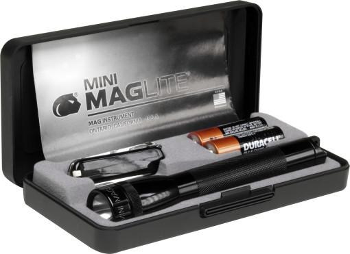 Relatiegeschenk Mag-lite mini AA zaklamp met Victorinox economymes bedrukken
