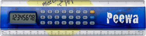 Relatiegeschenk Kunststof liniaal 20 cm met calculator bedrukken