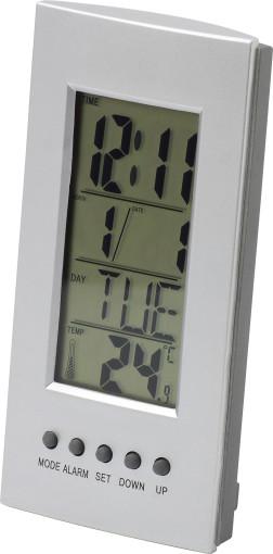 Relatiegeschenk Bureau/alarmklok met kalender en thermometer bedrukken
