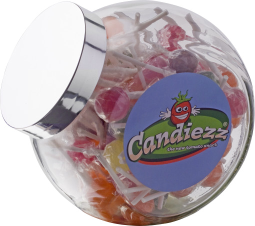 Relatiegeschenk Glazen snoeppot met lollies bedrukken