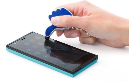 Relatiegeschenk Stylus Sleutelhanger Duim met Lampje bedrukken