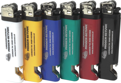 Relatiegeschenk Unilite aansteker/flesopener bedrukken