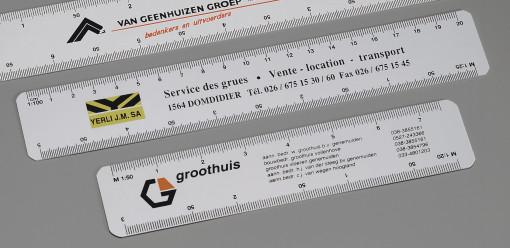Relatiegeschenk Schaalliniaal 20 cm. bedrukken