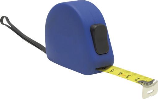 Relatiegeschenk Rolbandmaat Blue rubber look 3 meter bedrukken