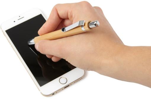 Relatiegeschenk Stylus pen Bamboe bedrukken