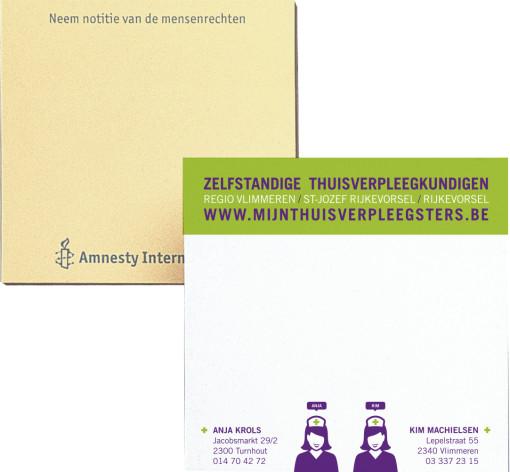 Relatiegeschenk Zelfklevend memoblok 7x7,5 cm bedrukken