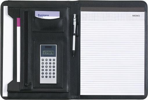 Relatiegeschenk A4 schrijfmap met dualpower calculator bedrukken