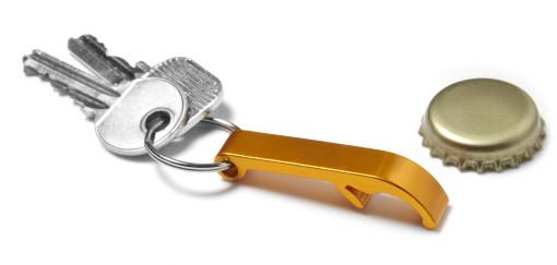 Relatiegeschenk Flesopener met sleutelring bedrukken