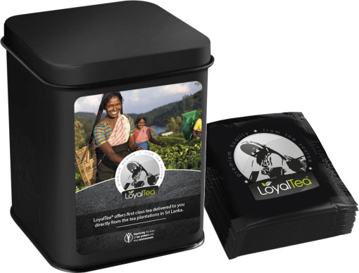 Relatiegeschenk LoyalTea® geschenkblik met 12 foliezakjes bedrukken